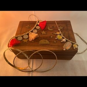 Vintage jewelry box with necklaces and bracelets